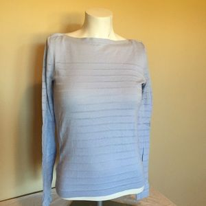 LOFT lightweight blue striped boatneck sweater